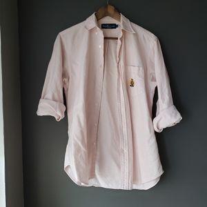 Pastel Pink Striped Preppy Ralph Lauren Polo Shirt